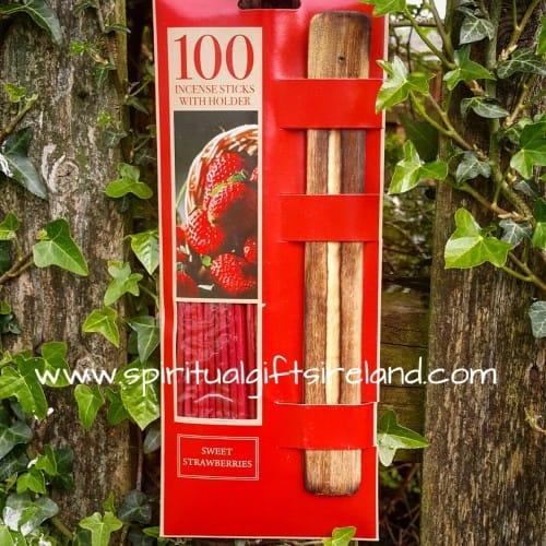 Strawberry Incense With Ash Catcher 100 Sticks