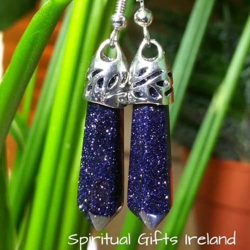 Goldstone Crystal Gemstone Silver Earrings