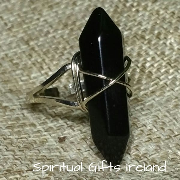 Black Agate Double Terminated Deborah Ring