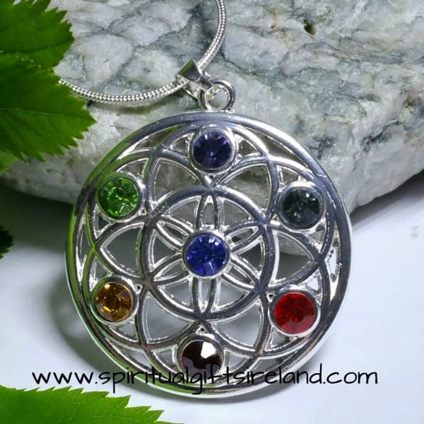 Chakra Life Wheel Gemstone Silver Pendant