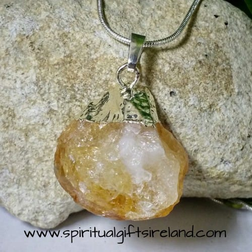 Citrine Raw Mirror Reflecting Crystal Gemstone Pendant