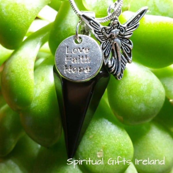 Black Onyx Guardian Angel Necklace