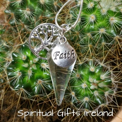Clear Quartz Crystal Gemstone Faith Pendant