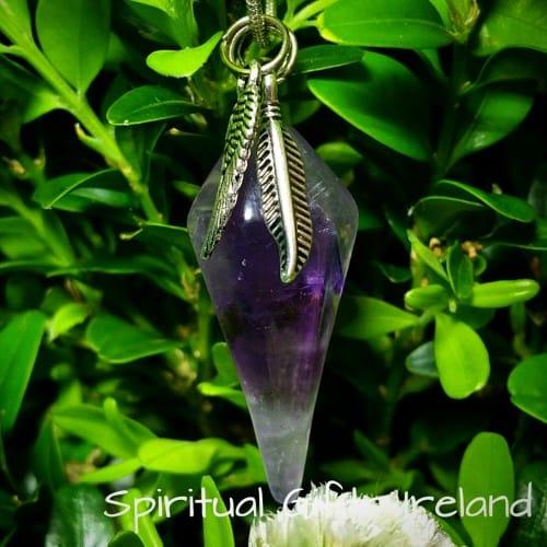 Purple Fluorite Point Pendant Necklace