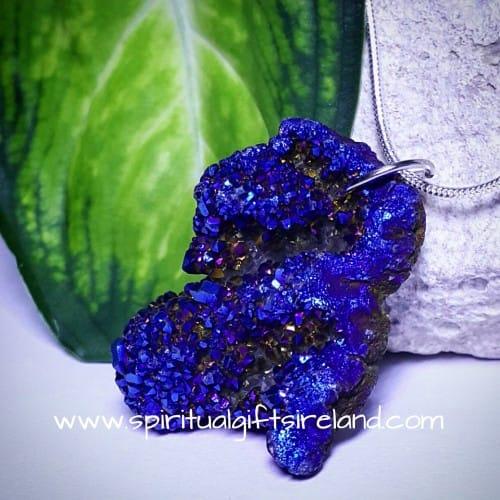 Druzy Necklace Blue Aura Quartz