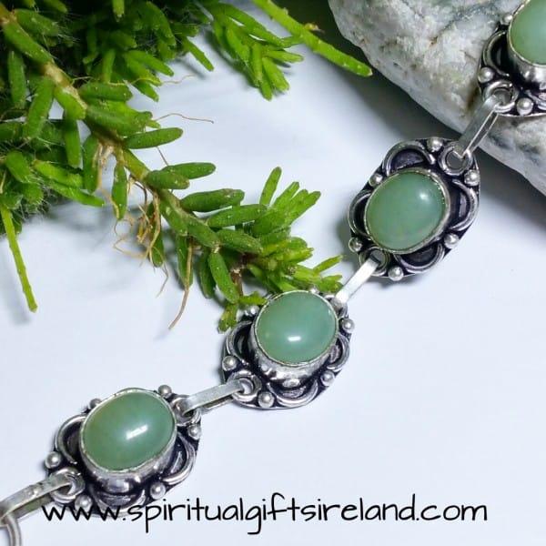 Green Aventurine Handcrafted Bracelet Sterling Silver