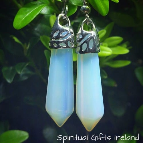 Opalite Crystal Gemstone Silver Earrings