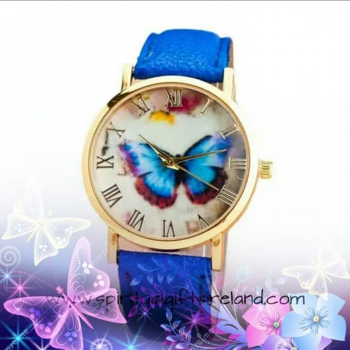 Indigo Blue Butterfly Ladies Wristwatch