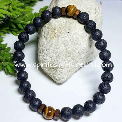 Lava Stone Bracelet With Tigers Eye