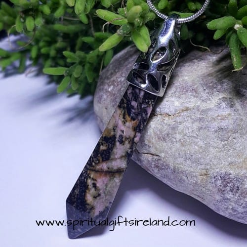 Rhodonite Gemstone Wand Pendant