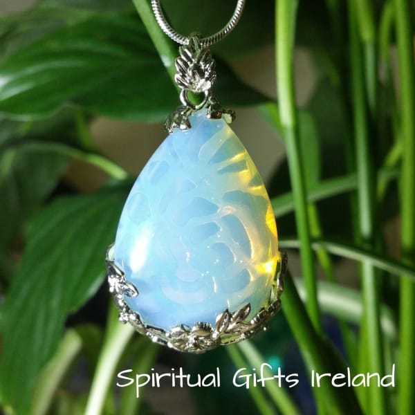Opalite Necklace Filigree Flower