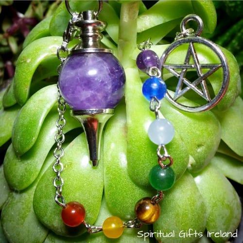 Chakra Amethyst Pentagram Crystal Pendulum