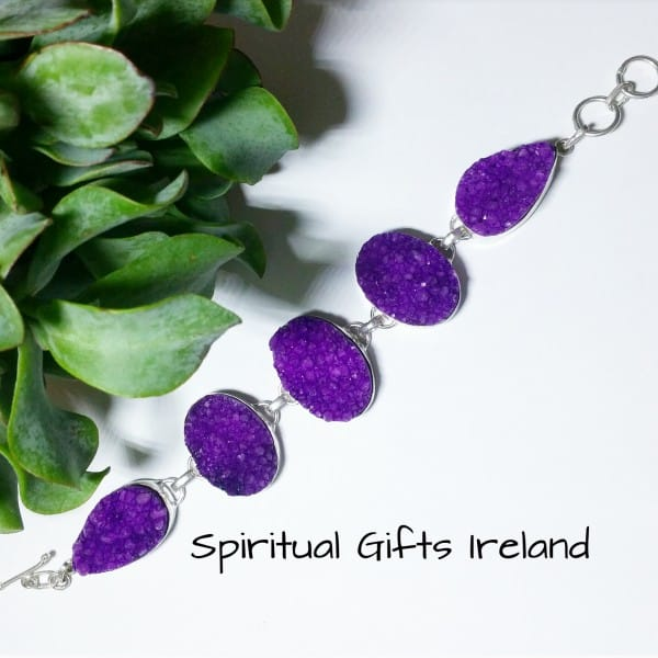 Purple Druzy Quartz Bracelet Sterling Silver