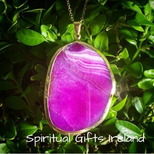 Inanna Pink Agate Crystal Gemstone Pendant