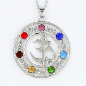 OM Chakra 7 Stone Crystal Necklace
