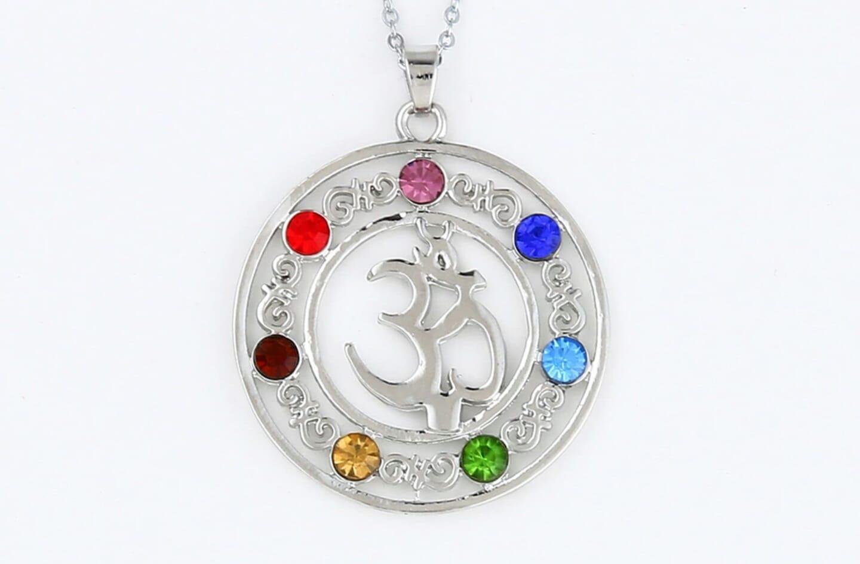 OM Chakra 7 Stone Crystal Necklace