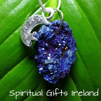 Aura Quartz Blue Gaia Crystal Gemstone Pendant