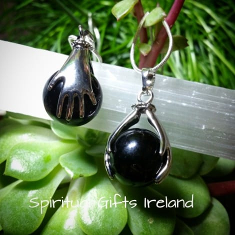 Black Agate Healing Hands Pendant