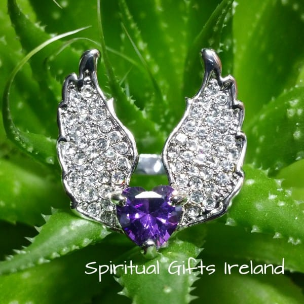 Amethyst Silver Angel Wings Ring Large