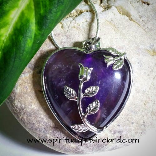 Amethyst Silver Heart Pendant