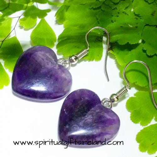 Amethyst Hearts Crystal Gemstone Earrings