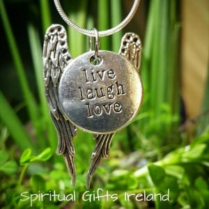 Angel Wings Pendant Live Laugh Love