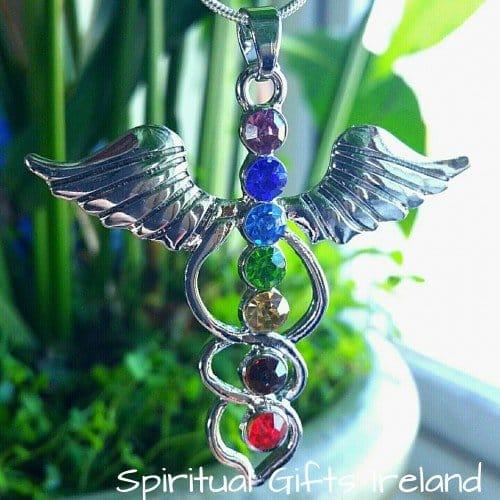 Angel Wings Silver Chakra Pendant