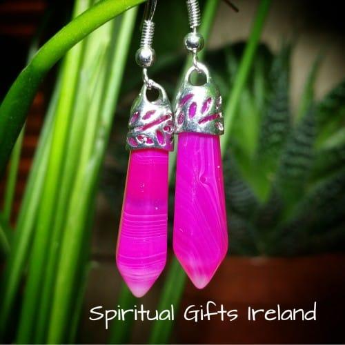 Aphrodite Botswana Pink Agate Crystal Gemstone Earrings