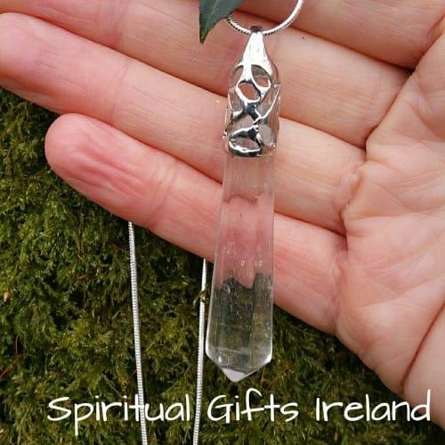 Clear Quartz Wand Crystal Gemstone Pendant