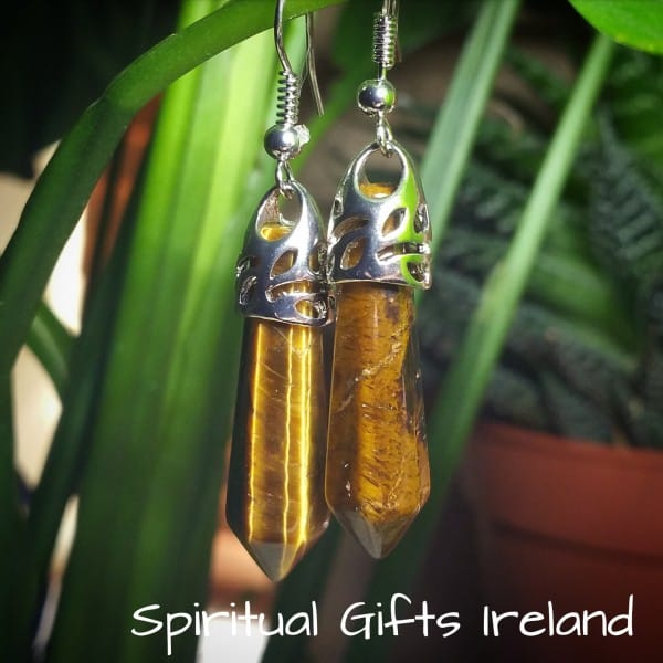 Tigers Eye Crystal Gemstone Earrings