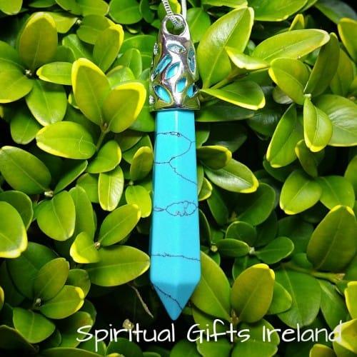 Turquoise Wand Crystal Gemstone Pendant