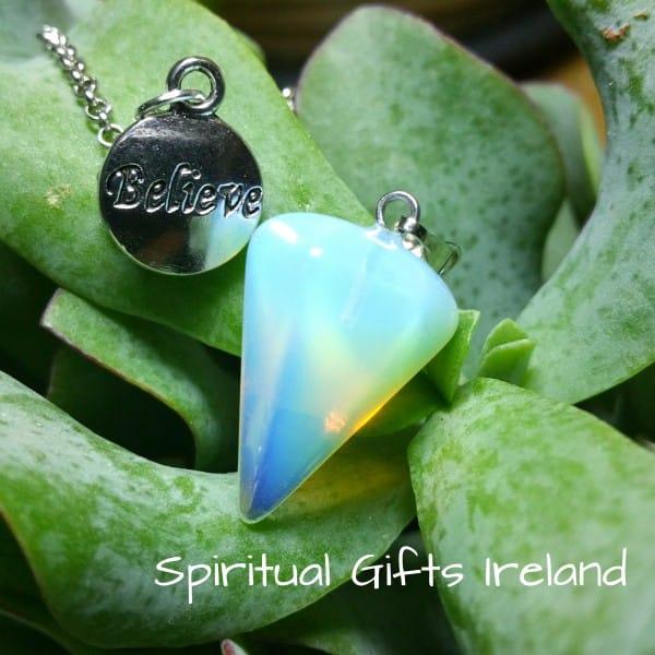 Believe Opalite Crystal Gemstone Pendulum