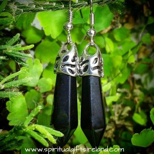 Black Agate Gemstone Crystal Earrings