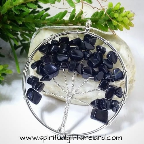 Black Agate Tree of Life Gemstone Crystal Pendant