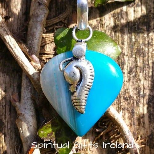 Botswana Blue Agate Seahorse Pendant Necklace