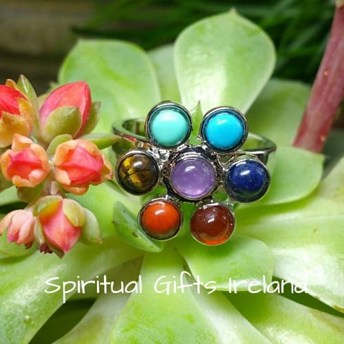 Chakra Stone Flower Ring Silver Adjustable