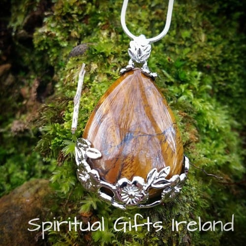 Tiger's Eye Filigree Flower Teardrop Pendant