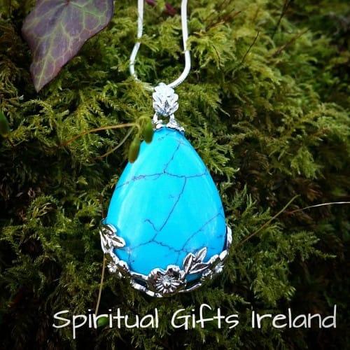 Turquoise Waterdrop Gemstone Crystal Necklace