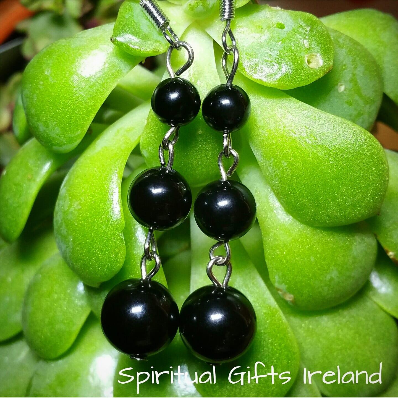 Black Agate Crystal Earrings