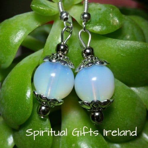 Opalite Handmade Crystal Ball Globe Earrings