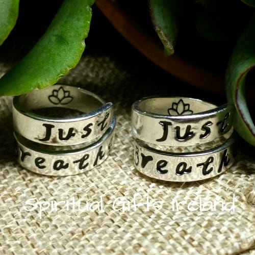 Just Breathe Lotus Flower Silver Ring