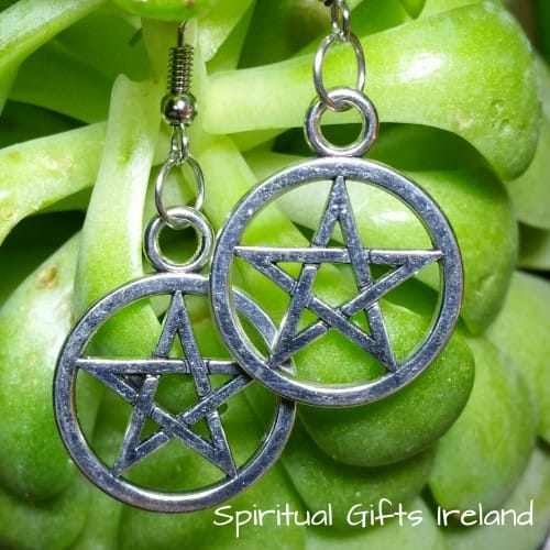 Tibetan Silver Pentagram Earrings
