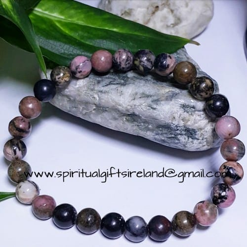 Rhodonite Heart Chakra Bracelet Larger Wrist
