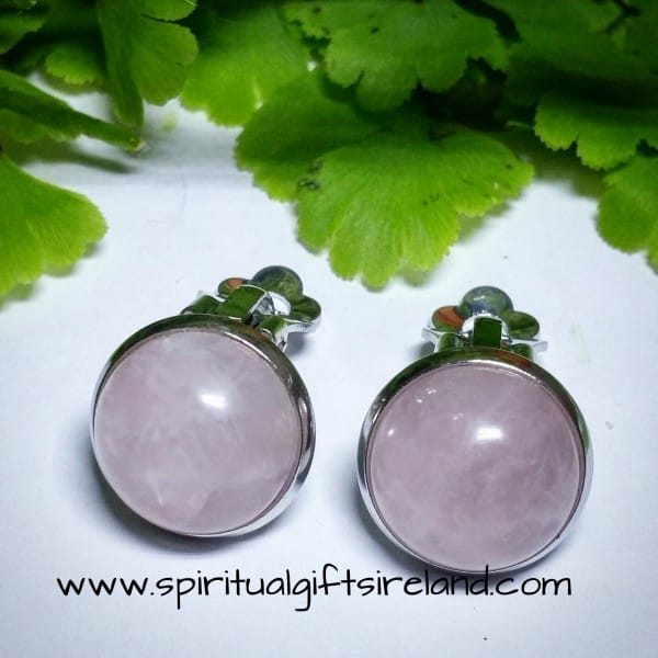 Rose Quartz Clip On Earrings