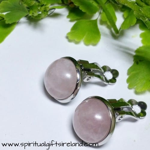 Rose Quartz Clip On Stud Gemstone Earrings