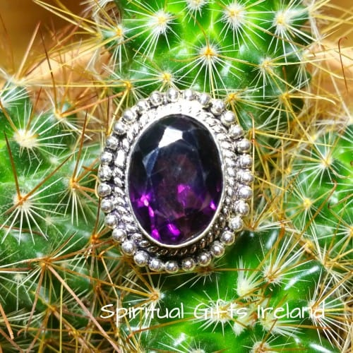 Amethyst Stone Handcrafted Sterling Silver Ring