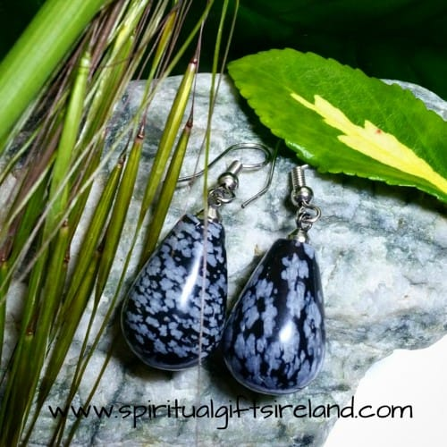 Snowflake Obsidian Crystal Gemstone Earrings