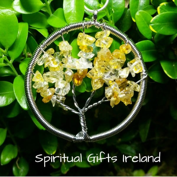 Citrine Tree of Life Crystal Gemstone Pendant