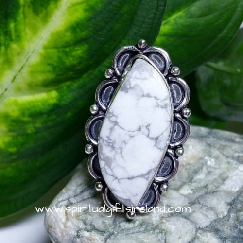 White Turquoise Sterling Silver Ring