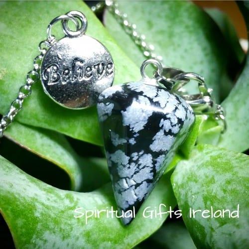 Believe Snowflake Obsidian Dowsing Pendulum